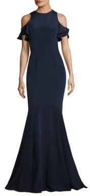 Theia Ruffle Cold-Shoulder Mermaid Gown $1,195 thestylecure.com