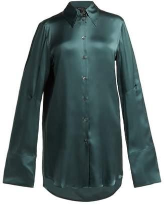 Ann Demeulemeester - Extended Cuff Silk Blouse - Womens - Dark Green