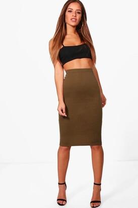 boohoo Petite Basic Ponte Bodycon Midi Skirt