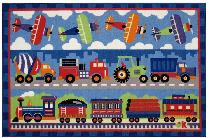 Fun Rugs Fun RugsTM Olive KidsTM Trains, Planes and Trucks Rug - 19'' x 29''