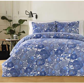 Marimekko Mynsteri Cotton 200-Thread Count 3-Pc. Blue Full/Queen Duvet Cover Set Bedding