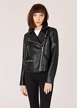 Women's Black Leather Biker Jacket With Zip Pockets