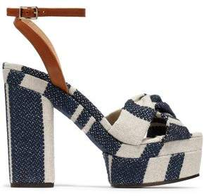 Castaner Amaia Striped Linen And Leather Platform Sandals