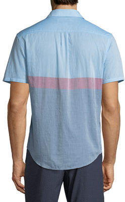 Original Penguin Men's Short-Sleeve Button-Down Colorblock Sport Shirt