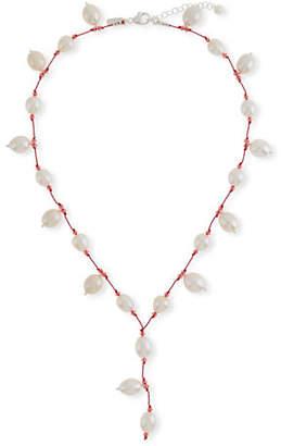Margo Morrison Pearl & Crystal Y-Drop Necklace