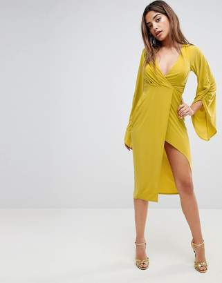 Asos Design Deep Plunge Slinky Ruched Kimono Dress