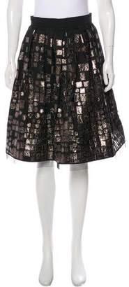 Naeem Khan Embroidered Flared Knee-Length Skirt