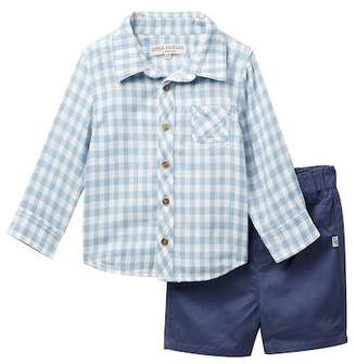 Pippa Little Brother By & Julie Long Sleeve Gingham Top & Shorts Set (Toddler Boys)