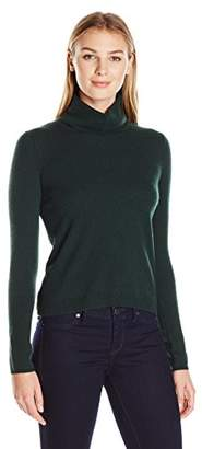 Lark & Ro Women's 100% Cashmere Soft Boxy Turtleneck Sweater