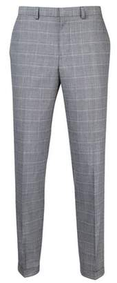 Mens Grey Slim Fit Check Suit Trousers