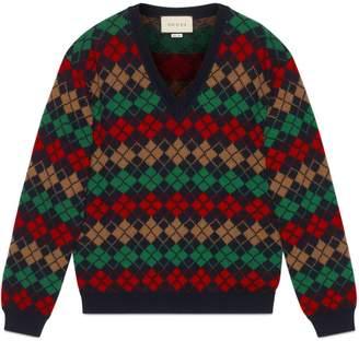 Gucci Argyle alpaca wool V-neck sweater