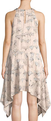 Maggy London Halter Floral-Print Handkerchief Dress