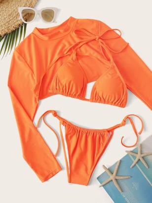 Shein Long Sleeve Halter Top 3 Piece Co-ord Bikini Set