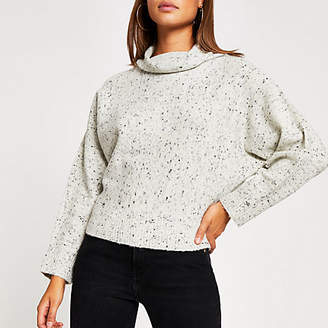 River Island Grey speckled batwing sleeve knitted jumper
