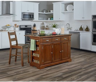 Inspired by Bassett Farmhouse Basics Kitchen Island with Granite and Drop Leaf in Vintage Oak and Two Matching Stools