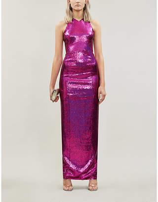 Galvan Reflection sleeveless sequin maxi dress