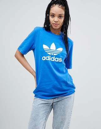 adidas adicolor Trefoil Oversized T-Shirt In Blue