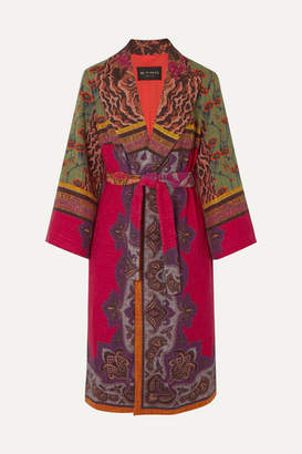 Etro Belted Cotton-blend Jacquard Coat - Red
