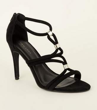55d69f2cfd08cd New Look Black Suedette Metal Tube Strap Stiletto Sandals