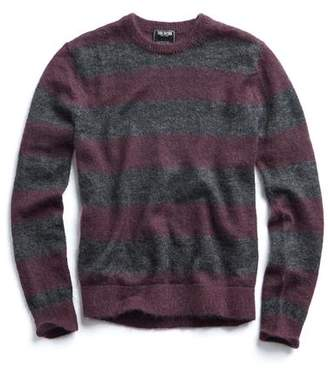 Todd Snyder Italian Brushed Wool Crewneck Sweater in Charcoal/Plum