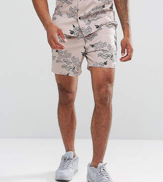 Asos DESIGN TALL Co-Ord Slim Shorts With Peony Print In Pink