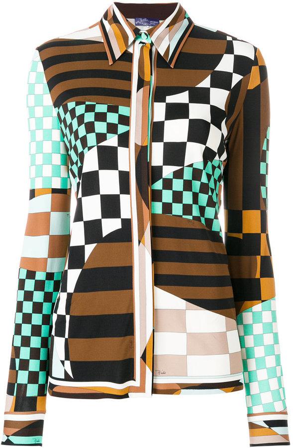 Emilio Pucci multi-print fitted blouse