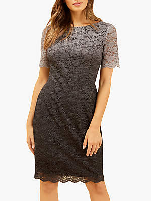 Fenn Wright Manson Petite Juliet Lace Dress, Grey/Black