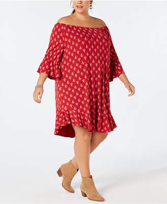 Style&Co. Style & Co Plus Size Floral-Print Off-The-Shoulder Dress