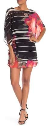 Trina Turk Anissa Stripe Floral Print Chiffon Shift Dress