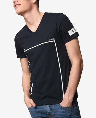 Armani Exchange Men's Slim-Fit V-Neck Graphic-Print T-Shirt