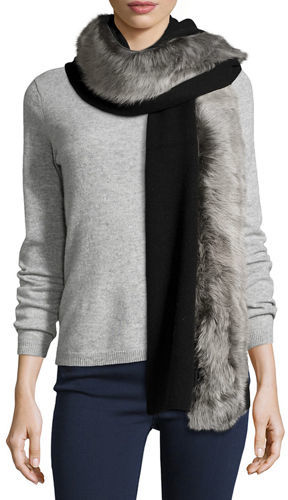 UGG UGG Luxe Wool-Blend Scarf w/ Toscana Fur Trim, Gray