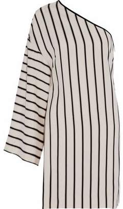 Rosetta Getty One-Shoulder Striped Twill Mini Dress