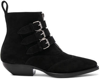 Saint Laurent Suede Theo Buckled Ankle Boots