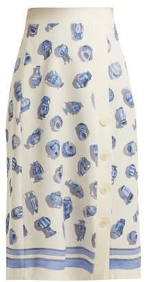 Altuzarra Banksia Vase Print Crepe Midi Skirt - Womens - Ivory Multi