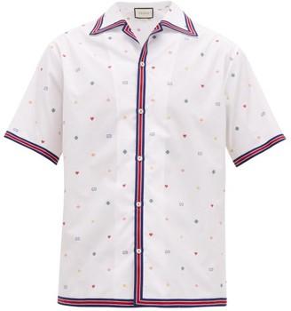 Gucci Fil Coupe Cotton Poplin Bowling Shirt - Mens - White Multi