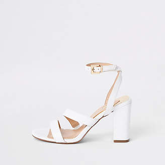 River Island White asymmetric strappy block heel sandals