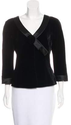Armani Collezioni Satin-Trimmed Velvet Blazer