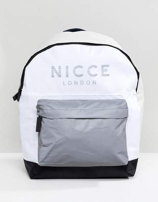 Nicce London Backpack In White With Reflective Logo