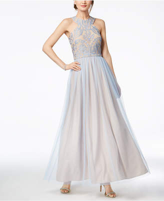 R & M Richards Nightway Sparkle-Embellished & Tulle Gown