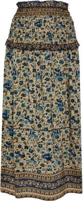 Sea Smocked Silk Midi-Skirt