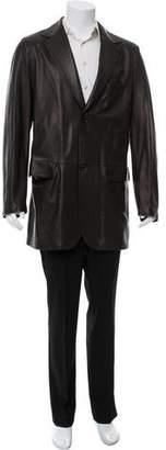 Kiton Leather Two-Button Jacket