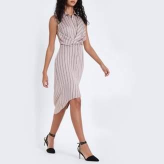 River Island Womens Pink stripe twist front midi shirt dress
