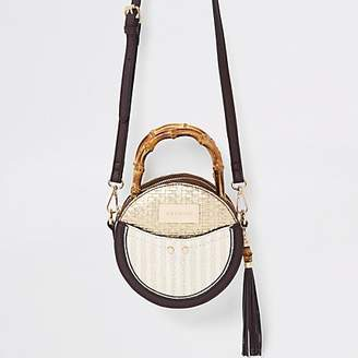 River Island Beige bamboo handle circle cross body bag