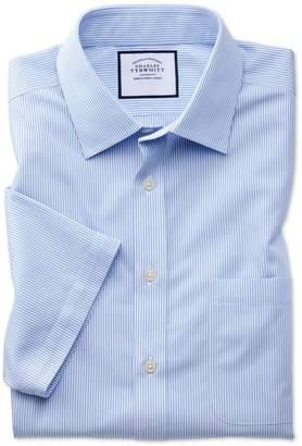 Charles Tyrwhitt Slim Fit Non-Iron Sky Blue Bengal Stripe Short Sleeve Cotton Dress Shirt Size 16.5/Short