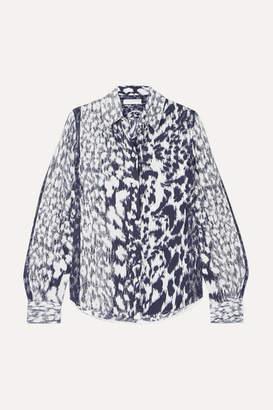 Victoria Beckham Leopard-print Twill Shirt - Navy
