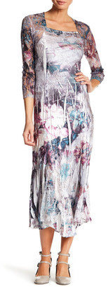 KOMAROV Square Neck 3/4 Length Sleeve Maxi Dress $278 thestylecure.com
