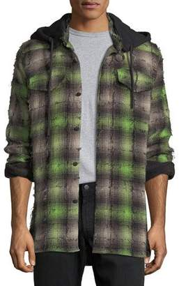 Off-White Diagonal Stripes Plaid Flannel Hooded Shirt $665 thestylecure.com