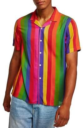 Topman Rainbow Stripe Classic Fit Shirt