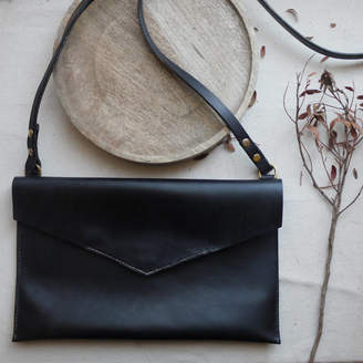 Tori Lo Designs Leather Bag Envelope Style With Magnetic Fastening