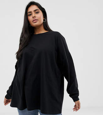 Asos DESIGN Curve super oversized lightweight sweatshirt in black